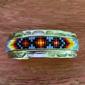 Navajo Nickel silver seed bead cuff